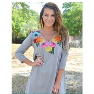 Dresses & Skirts - NEW Judith March Grey Dress Floral Embroidery Neck